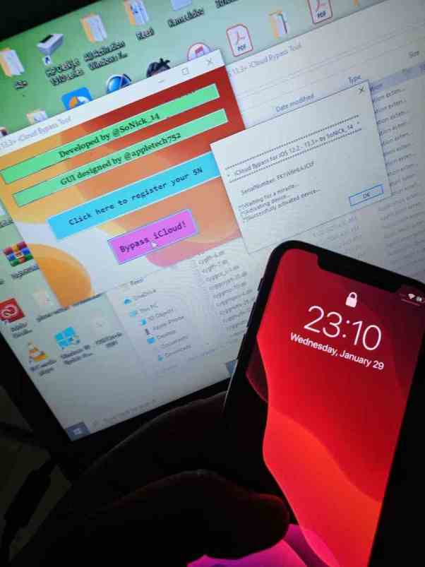 Sonick icloud bypass tools (iOS12.3 up to iOS13.x)