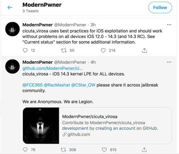 ModernPwner has released cicuta_virosa exploit iOS12 - iOS 14.3 kernel LPE for ALL devices.