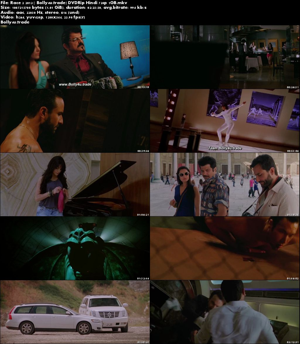 Race 2 2013 DVDRip 1Gb Full Hindi Movie Download 720p