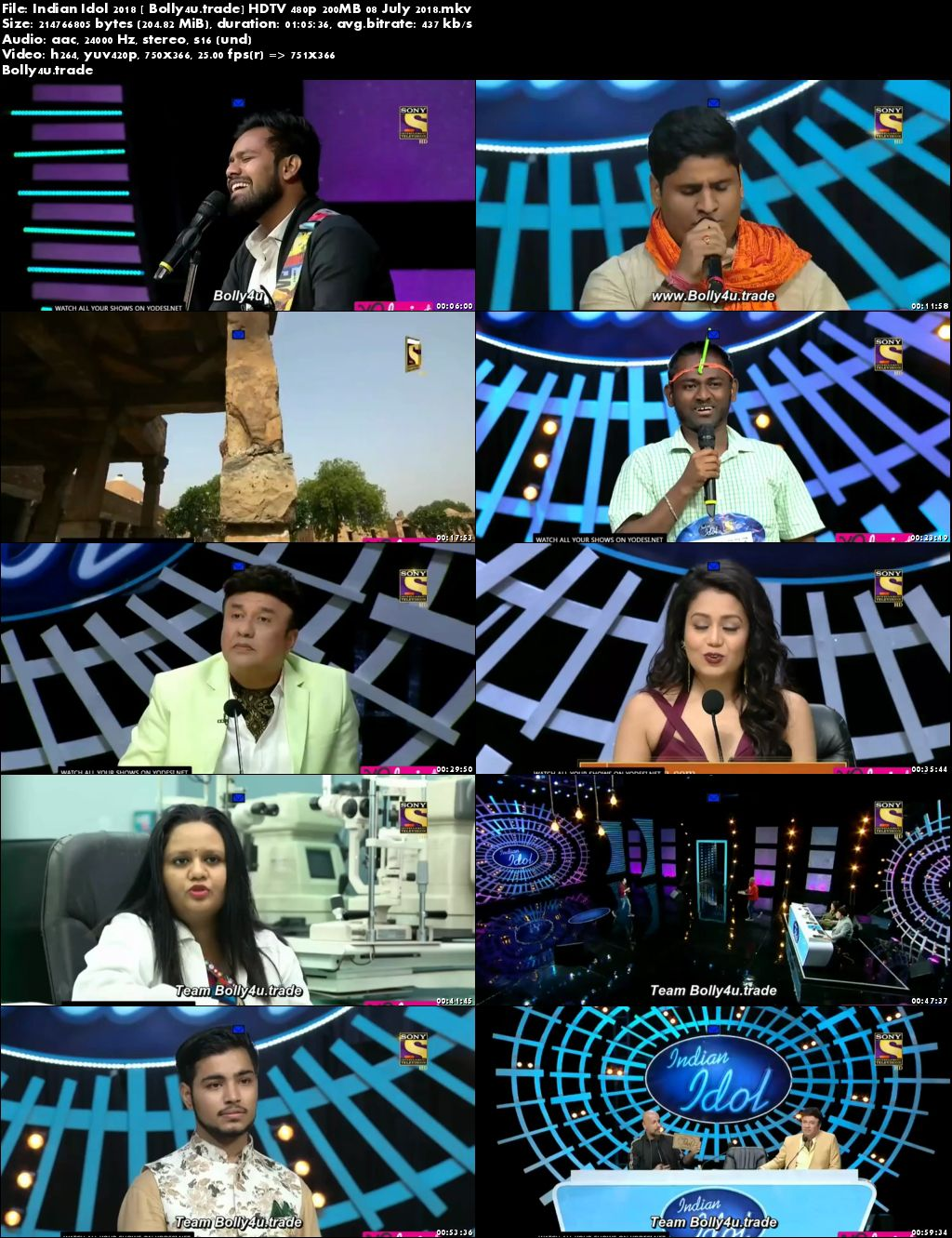 Indian Idol 2018 HDTV 480p 200MB 08 July 2018 Download