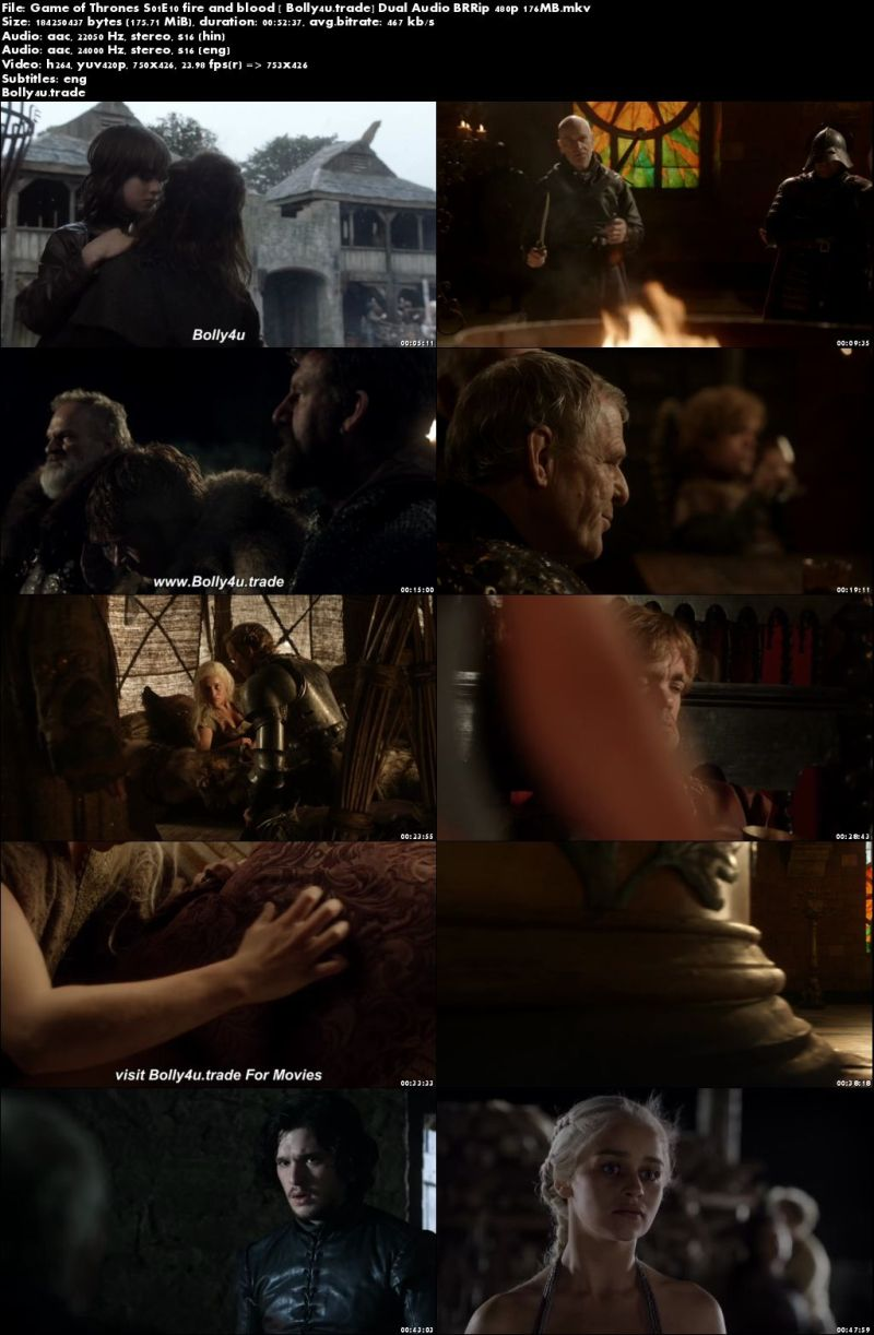 Game of Thrones S01E10 BRRip 180MB Hindi Dual Audio 480p Download