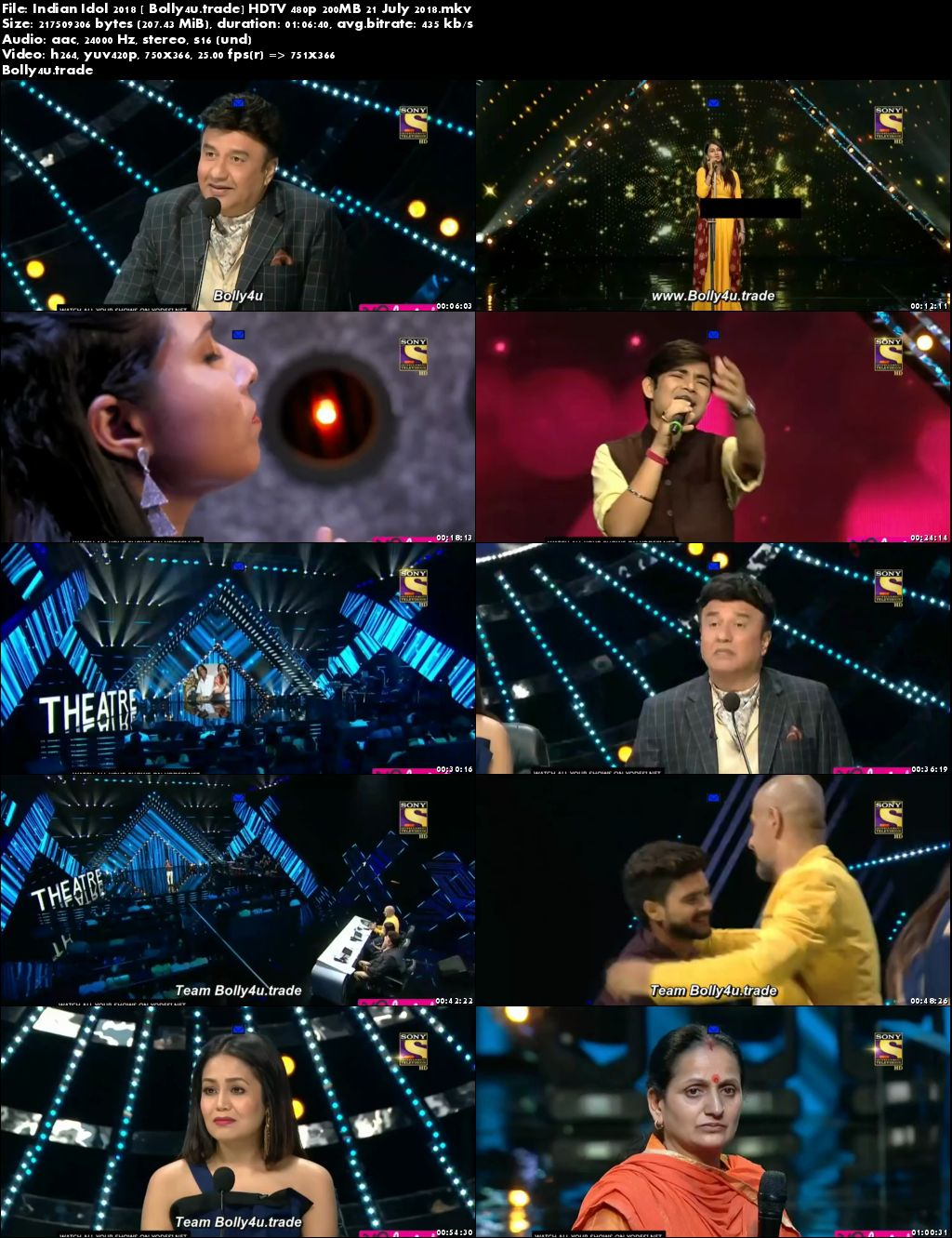 Indian Idol 2018 HDTV 480p 200MB 21 July 2018 Download