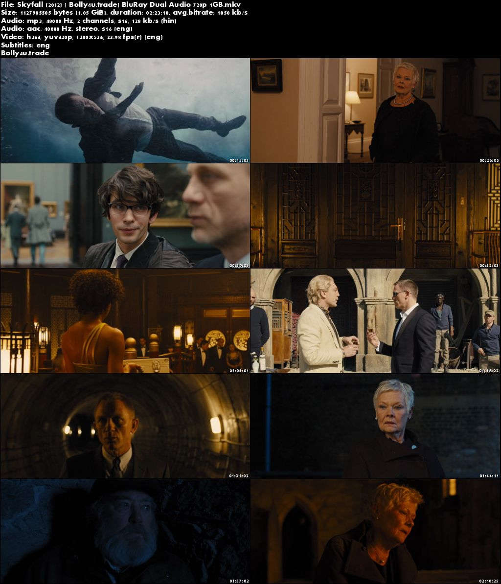 Skyfall 2012 BluRay 450MB Hindi Dubbed Dual Audio 480p ESub Download
