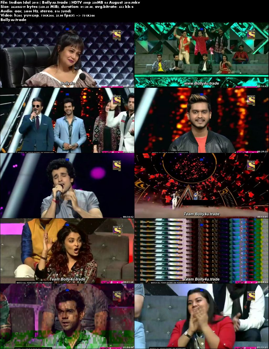 Indian Idol 2018 HDTV 480p 250MB 04 August 2018 Download