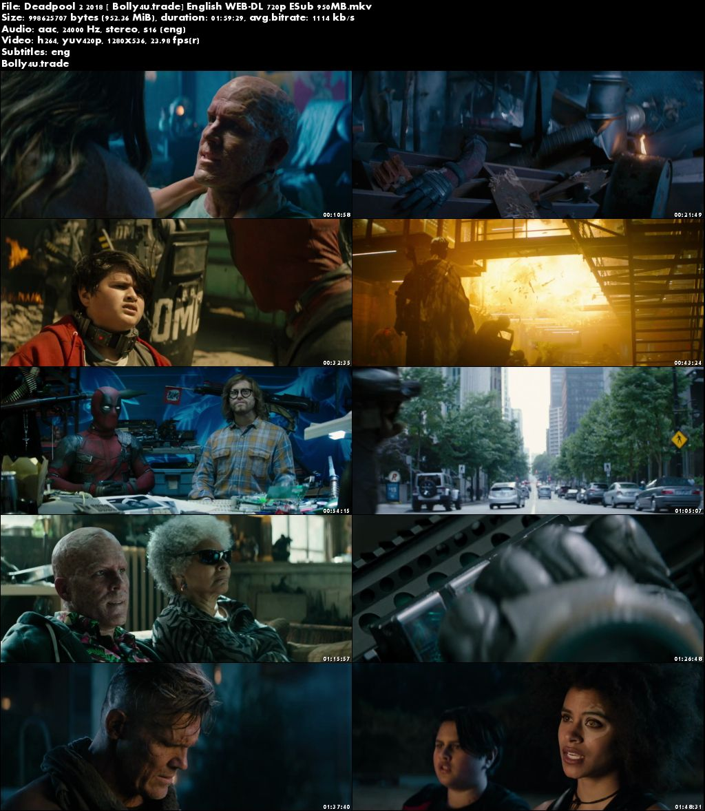 Deadpool 2 2018 WEB-DL 950Mb Full English Movie Download 720p ESub