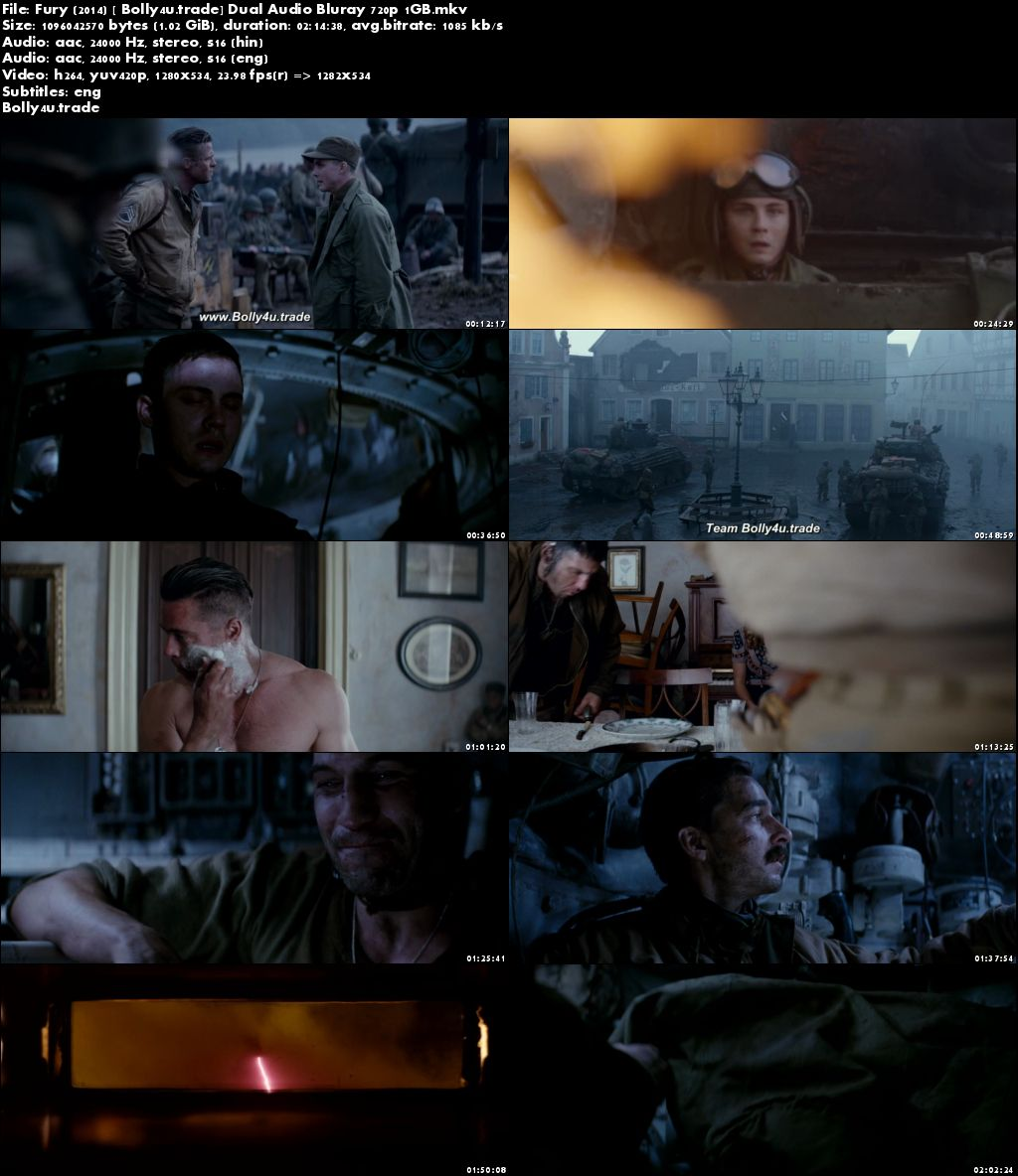 Fury 2014 BluRay 450MB Hindi Dubbed Dual Audio ORG 480p Download