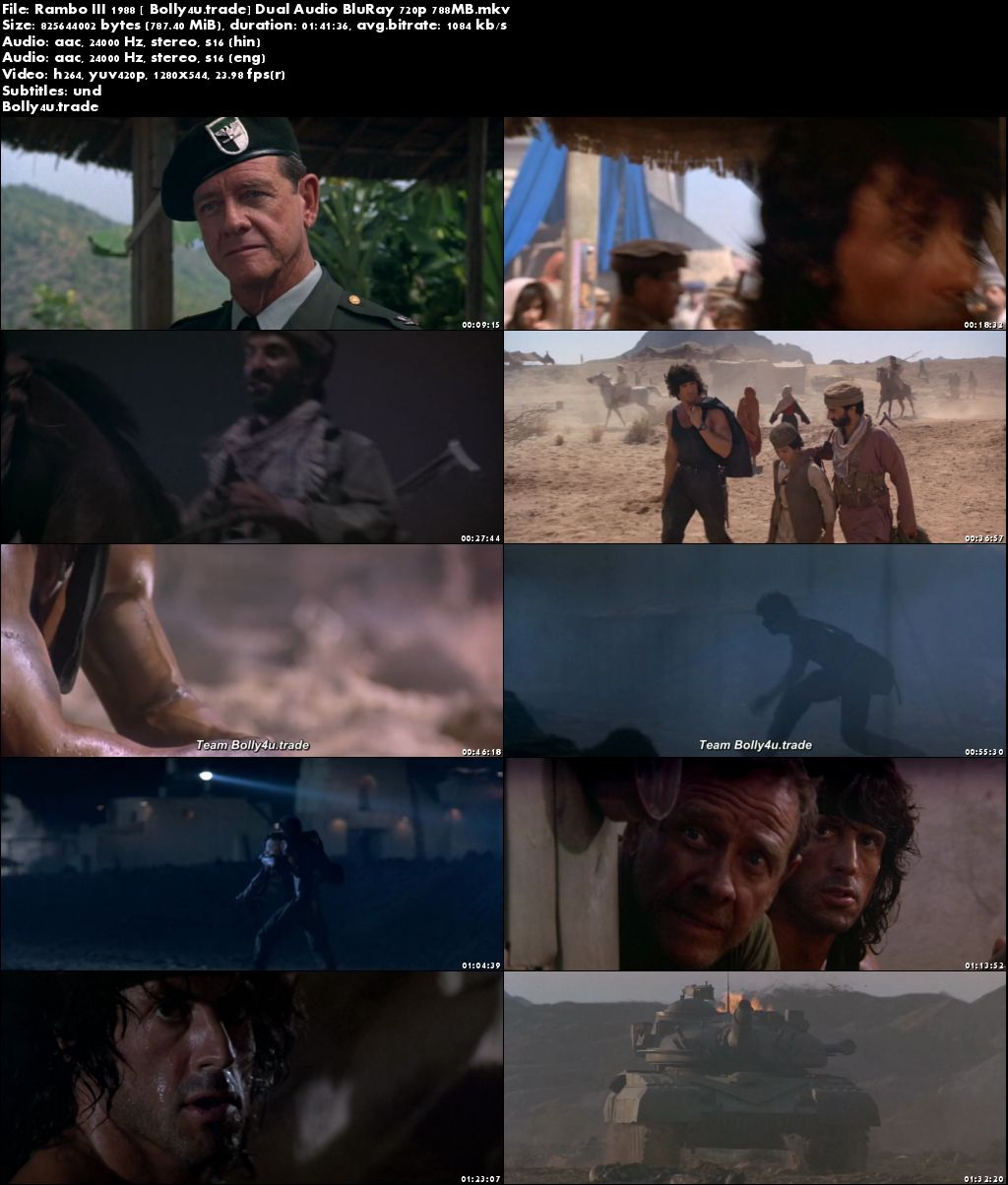 Rambo III 1988 BluRay 300MB Hindi Dual Audio 480p Download