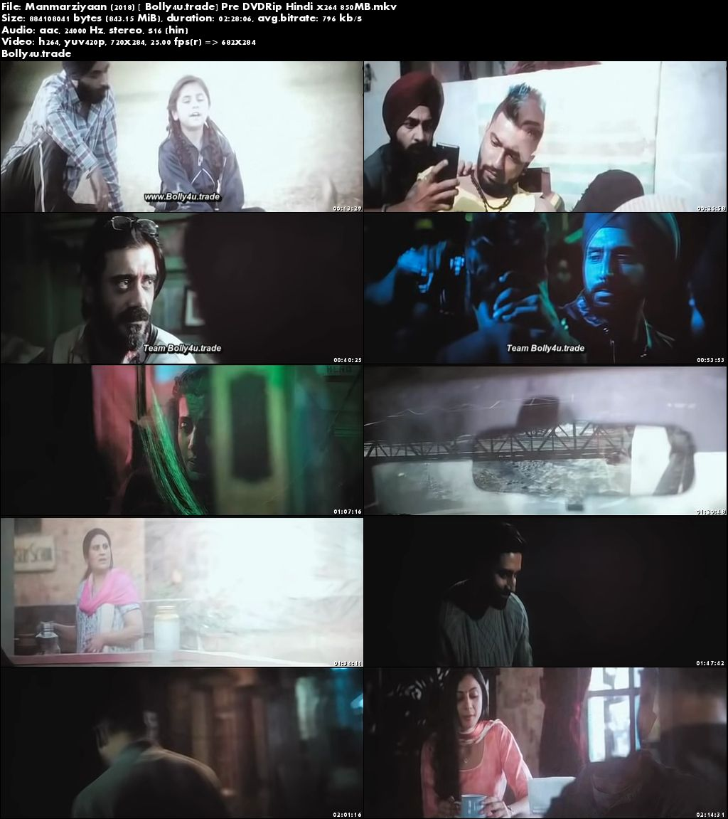 Manmarziyaan 2018 Pre DVDRip 700Mb Full Hindi Movie Download x264