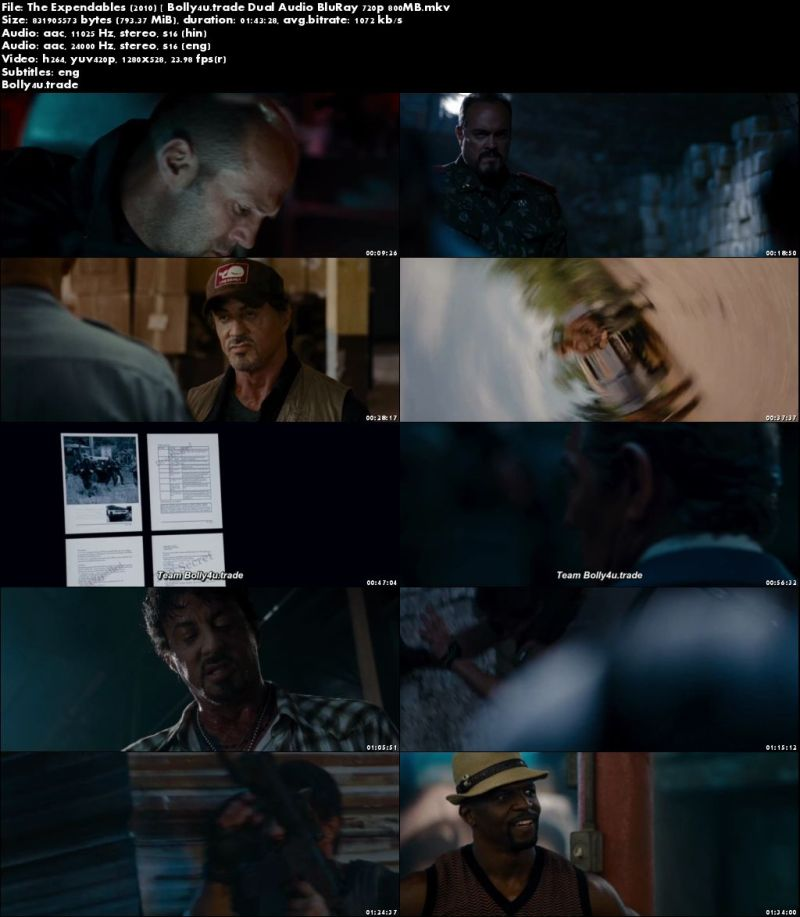 The Expendables 2010 BRRip 350Mb Hindi Dual Audio 480p Download