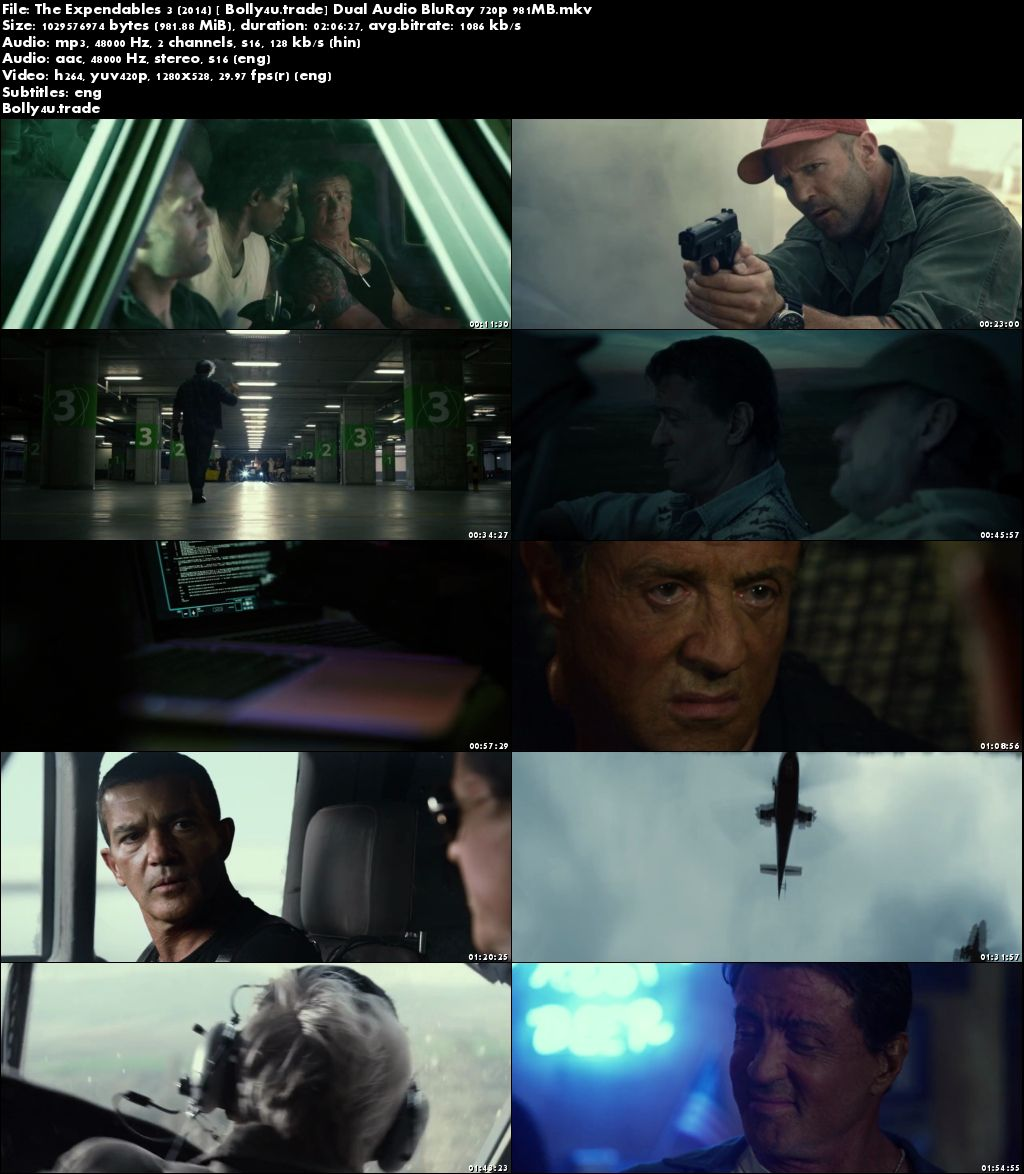 The Expendables 3 2014 BRRip 300MB Hindi Dual Audio 480p Download