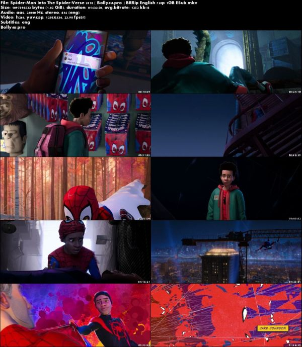 Spider-Man Into the Spider-Verse 2018 BRRip 350MB English 480p ESub Download