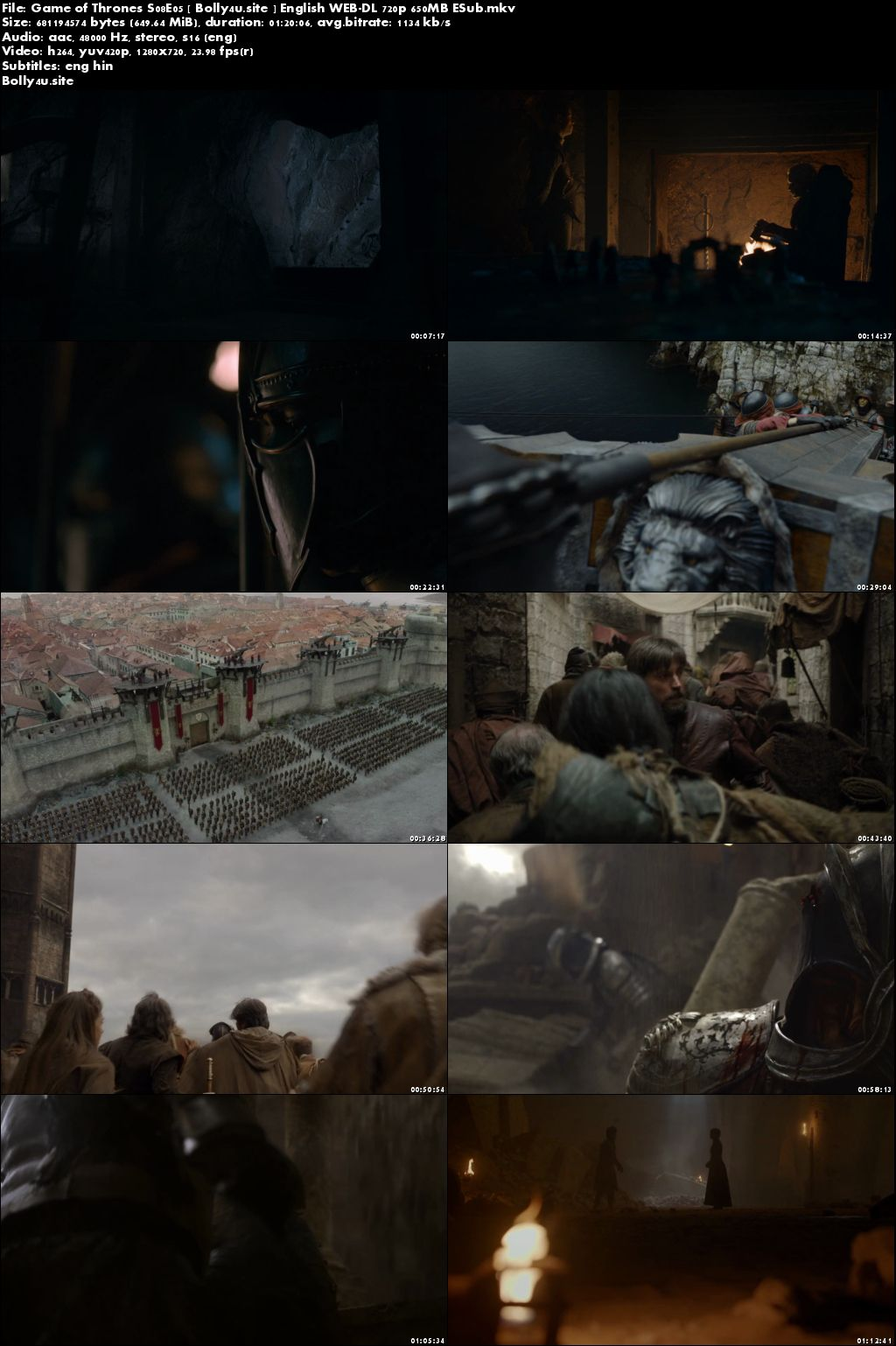 Game of Thrones S08E05 WEB-DL 650MB English 720p Hindi ESub Download