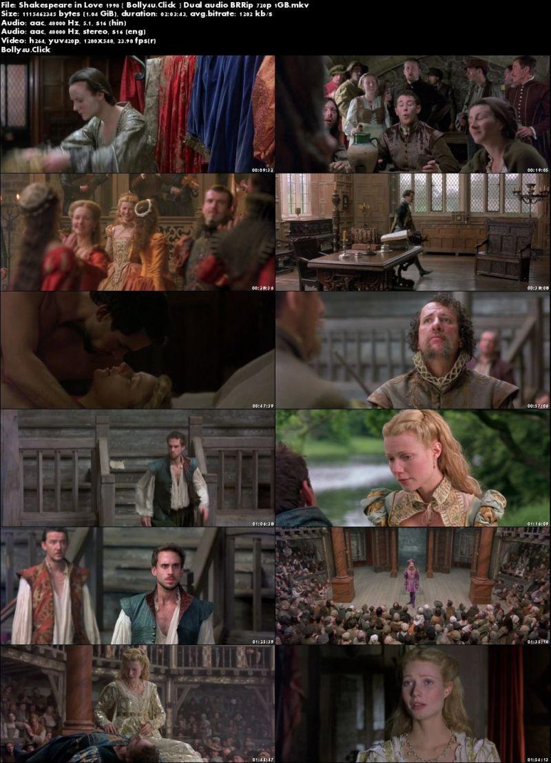 Shakespeare in Love 1998 BRRip 300MB Hindi Dual Audio 480p Download
