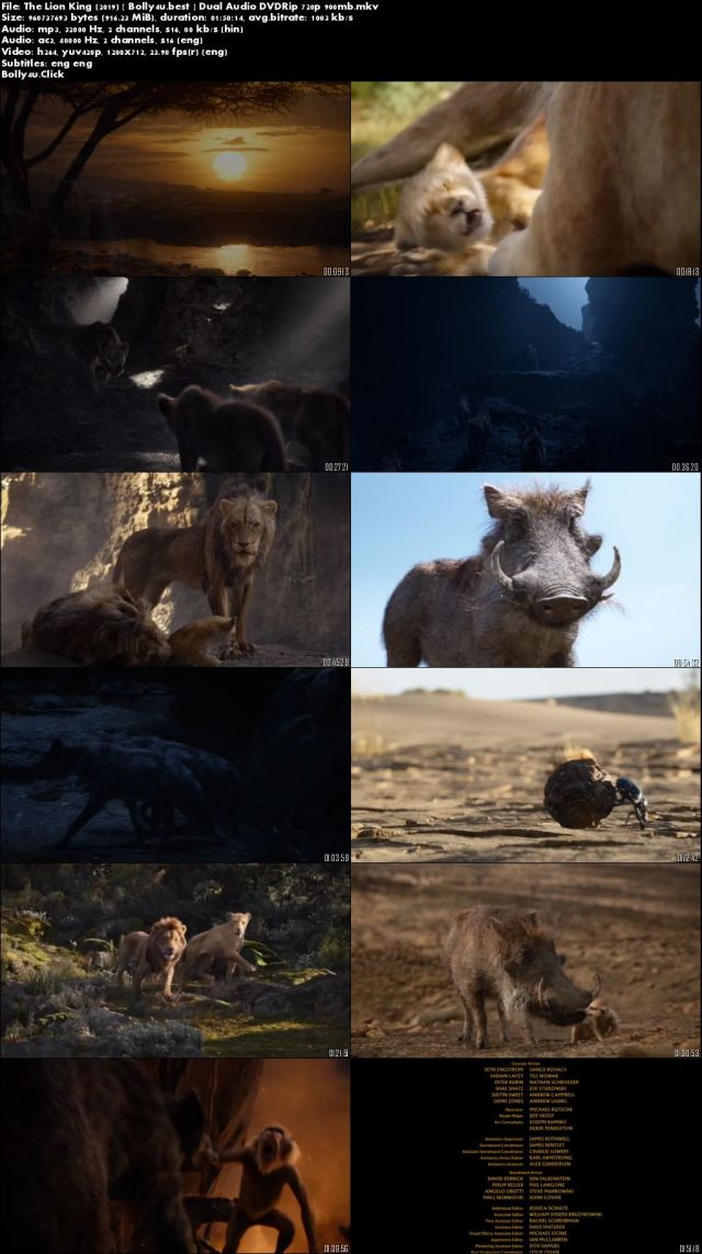 The Lion King 2019 DVDRip 300MB Hindi Dual Audio 480p ESub Download