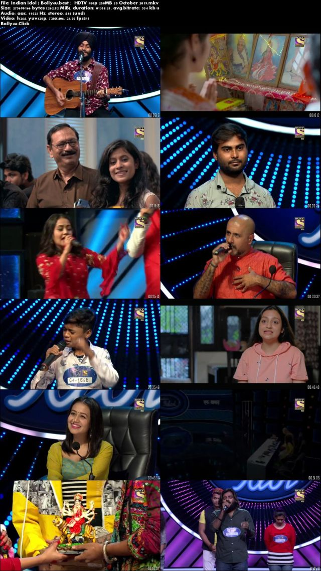 Indian Idol HDTV 480p 200MB 20 October 2019 Download
