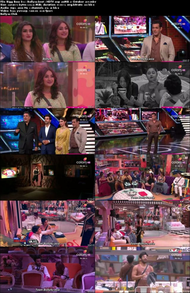 Bigg Boss S13 HDTV 480p 200MB 21 October 2019 Download