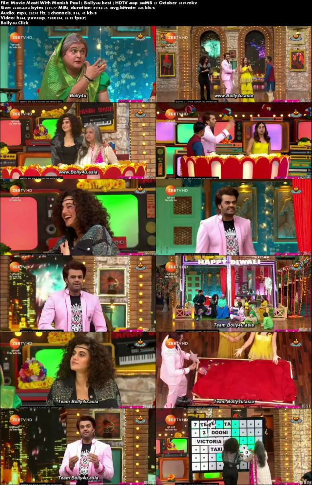 Movie Masti With Manish Paul HDTV 480p 200MB 27 October 2019 Download