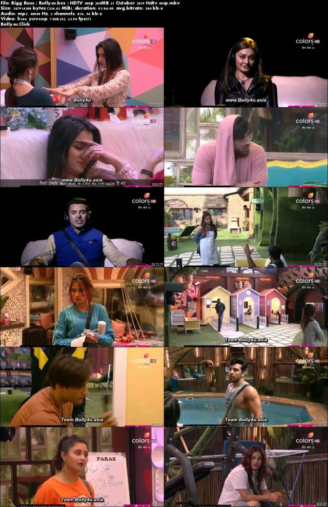 Bigg Boss S13 HDTV 480p 170MB 31 October 2019 Download
