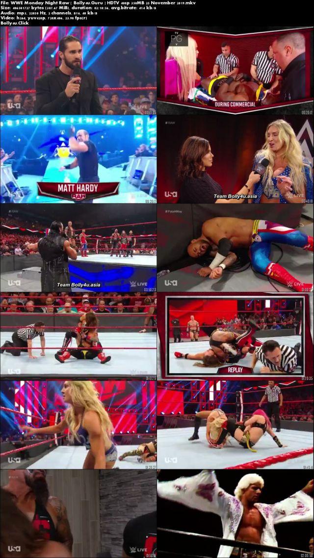 WWE Monday Night Raw HDTV 480p 350MB 25 November 2019 Download