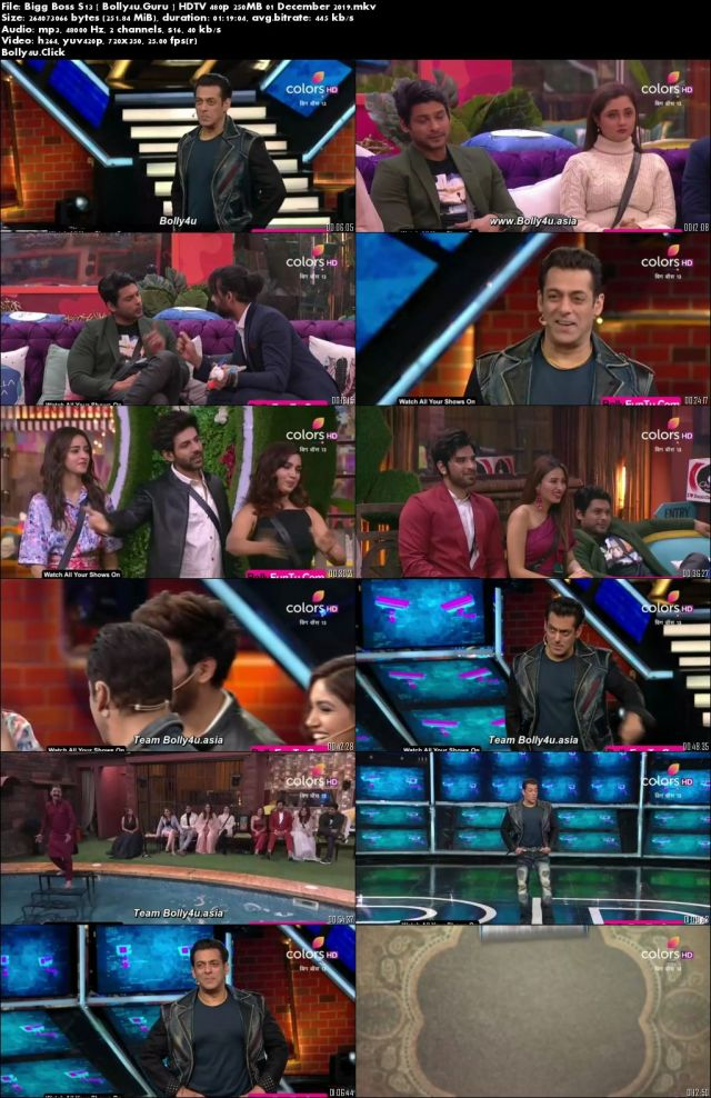 Bigg Boss S13 HDTV 480p 250MB 01 December 2019 Download