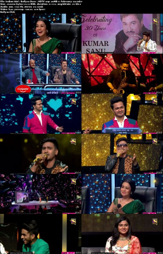 Indian Idol HDTV 480p 300MB 01 February 2020 Download