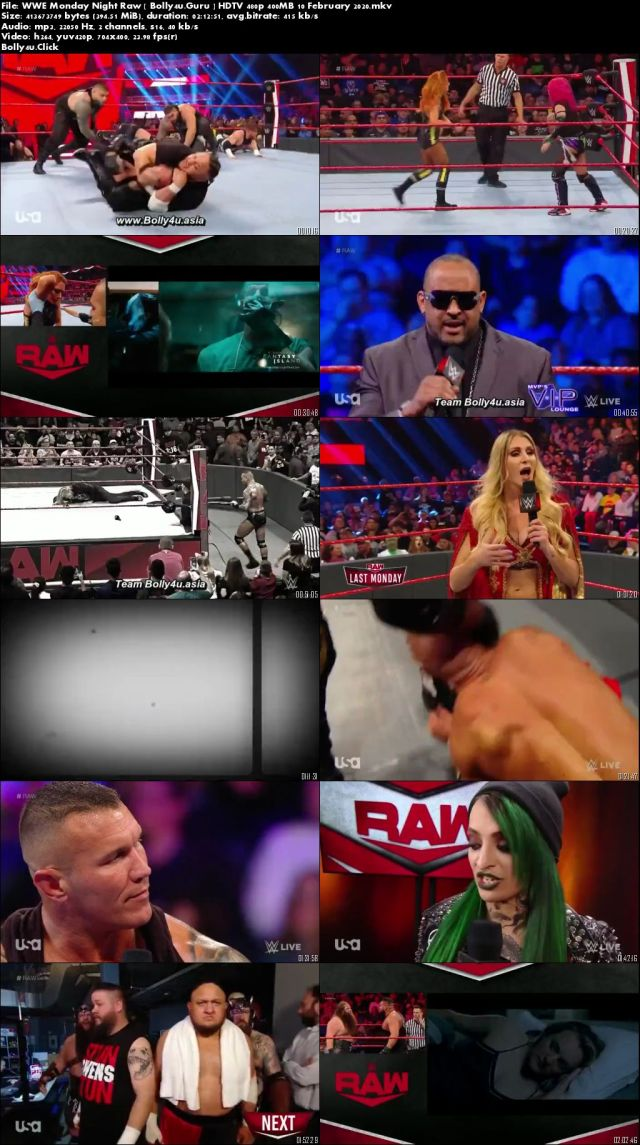 WWE Monday Night Raw HDTV 480p 400MB 10 February 2020 download