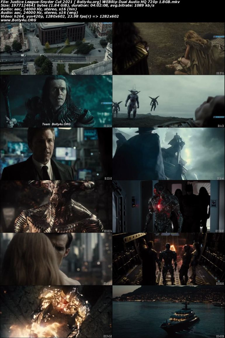Justice League Snyder Cut 2021 WEBRip 1.8GB Hindi (HQ) Dual Audio 720p Download