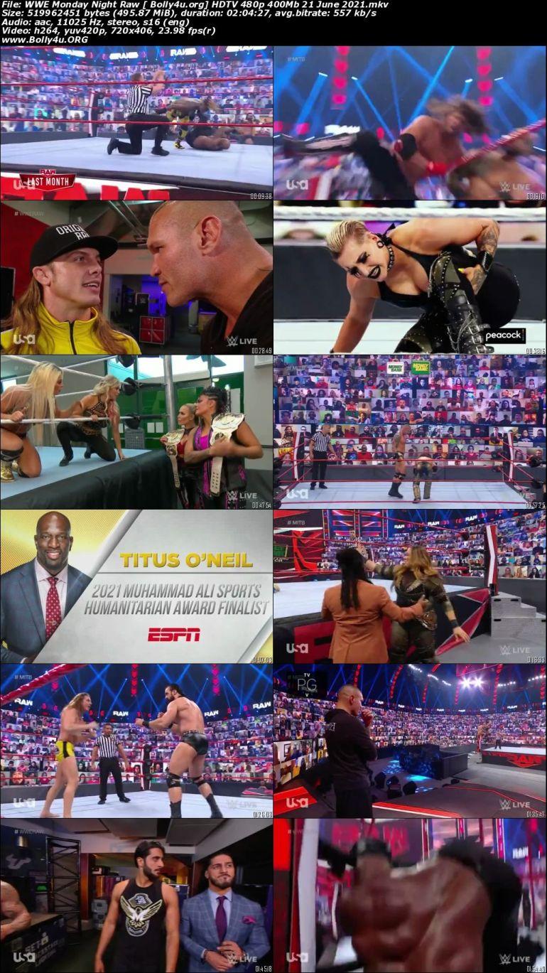 WWE Monday Night Raw HDTV 480p 400Mb 21 June 2021 Download