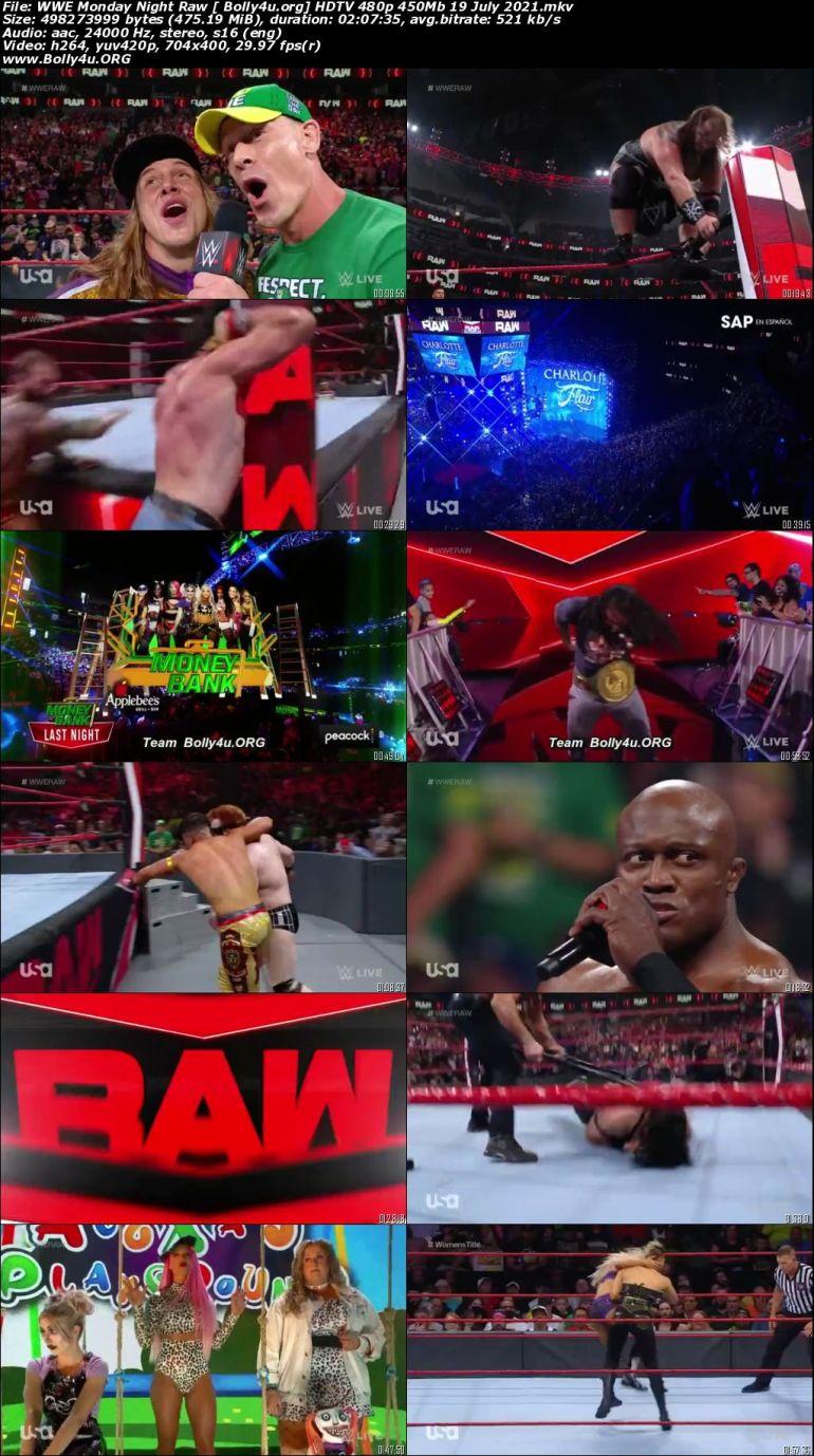 WWE Monday Night Raw HDTV 480p 450Mb 19 July 2021 Download