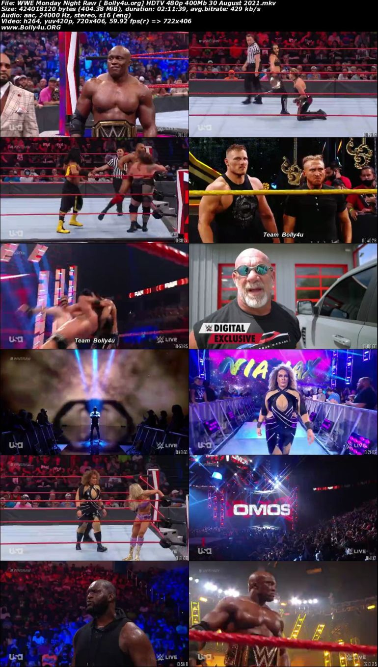 WWE Monday Night Raw HDTV 480p 400Mb 30 August 2021 Download