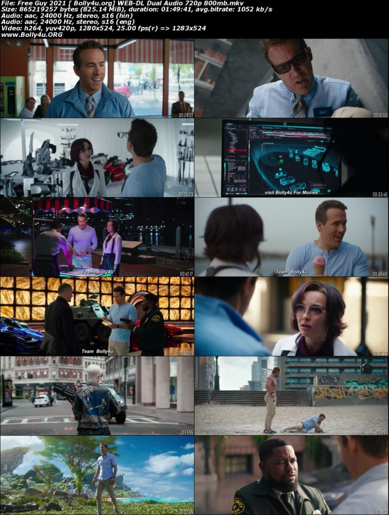 Free Guy 2021 WEB-DL 800Mb Hindi CAM Cleaned Dual Audio 720p Download