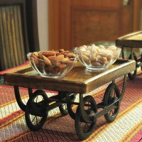 Wood Cart for Dining Table Snack Serving Platter - My ...