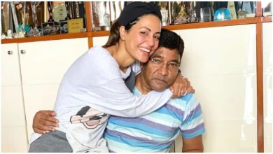 Photo of After the death of the father, now Hina Khan handled herself, wearing the father's t-shirt, gave this message to the fans