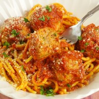 Spaghetti & Curry Meatballs