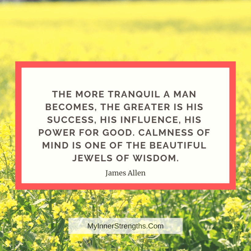 Confidence Quotes and Affirmations My Inner Strengths9 The more tranquil a man becomes, the greater is his success, his influence, his power for good. Calmness of mind is one of the beautiful jewels of wisdom.