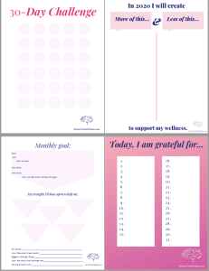 image of all 4 worksheets in pink