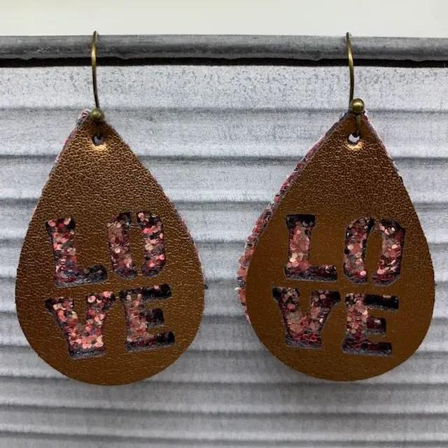 Love Leather Earrings DIY for Valentine's Day earrings
