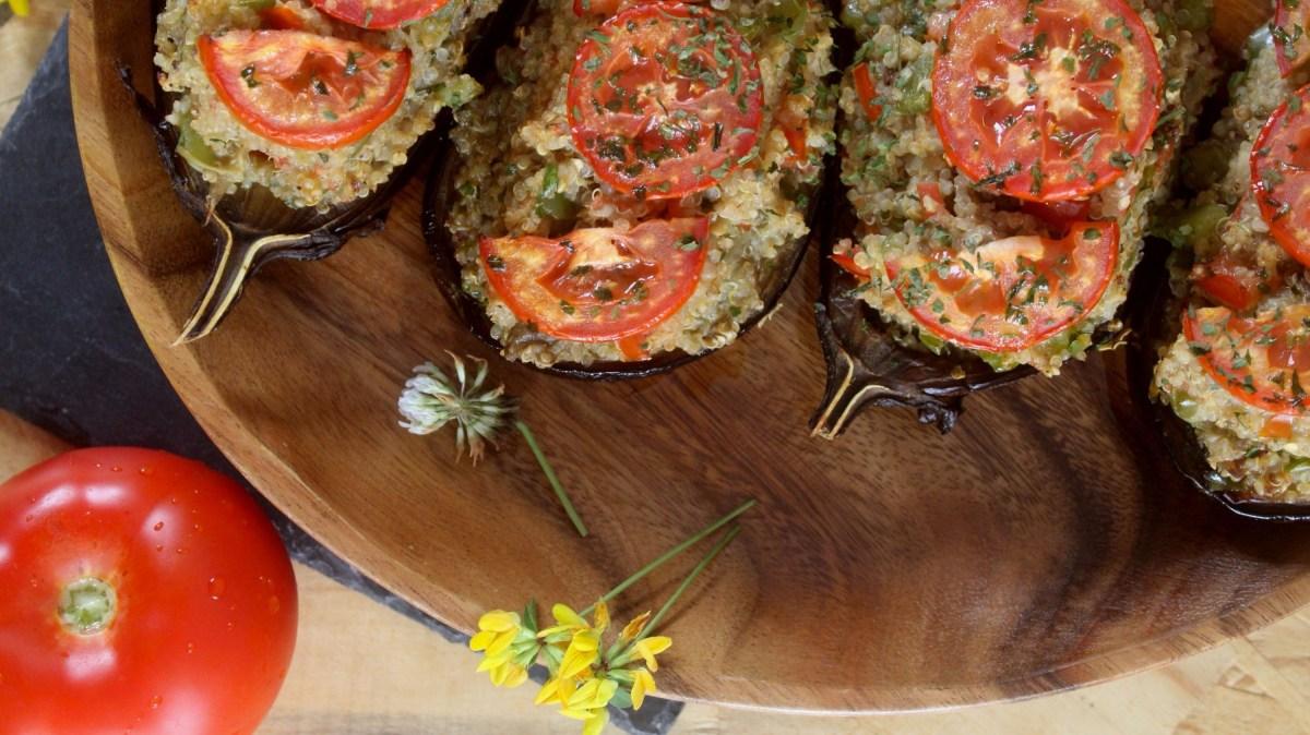 Beringelas recheadas com Quinoa