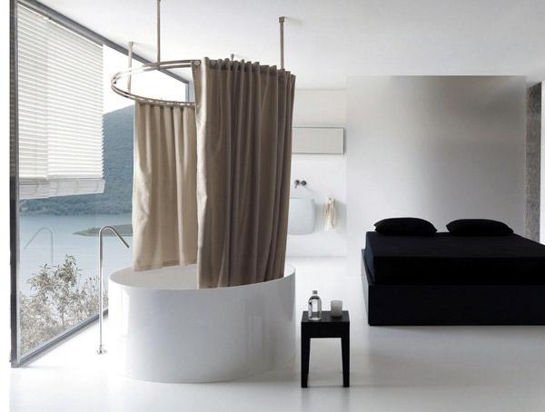 La tenda da doccia contiene 1x tenda per doccia, 12 x anelli per tende da. Vasca Tenda Architettura E Design A Roma