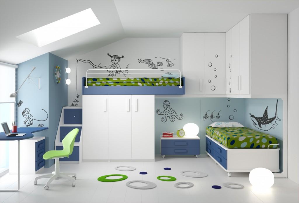 Camerette per bambini e ragazzi con sistemi di letti, armadi, librerie e scrivanie. 10 Soluzioni Per Una Cameretta Doppia Architettura E Design A Roma