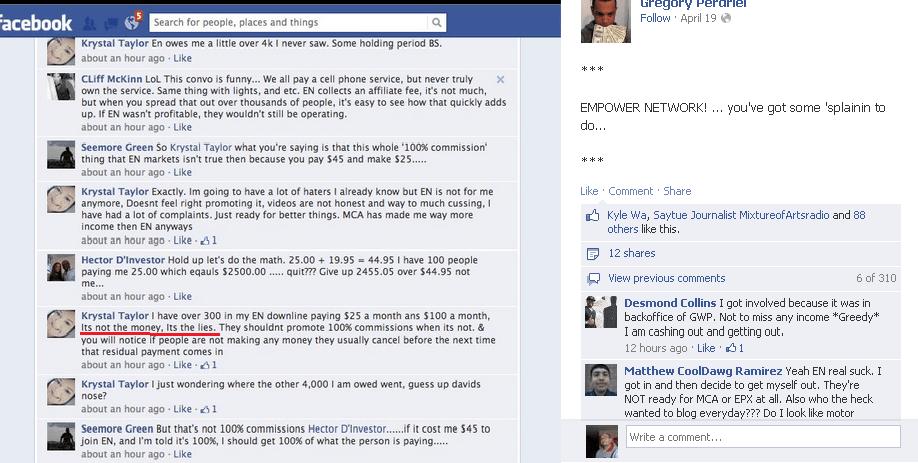Empower Network customer complaint on Facebook