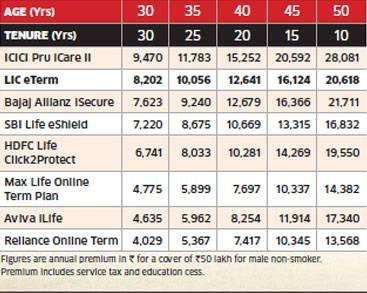 LIC e term Vs private insurance online term insurance plans