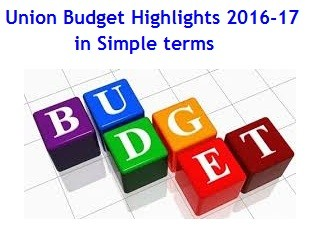 Union Budget Highlights 2016-2017