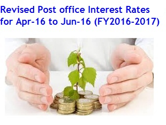 Latest Revised Post office Interest Rates for Apr-16 to Jun-16