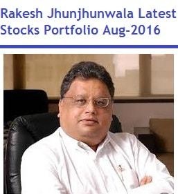 Rakesh Jhunjhunwala Latest Stocks Portfolio Aug-2016