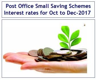 Post Office Small Saving Schemes Interest rates for Oct to Dec-2017