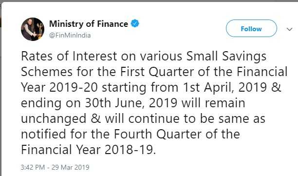 Tweet of Latest Interest Rates of Post Office Small Saving Schemes – April to June-2019