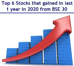 Top 6 Stocks that gained in last 1 year in the BSE 30 Index