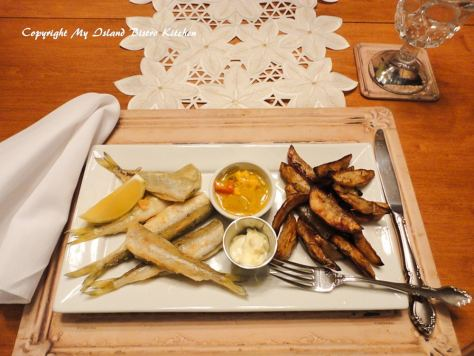 Fried Smelts with Roasted Potato Wedges