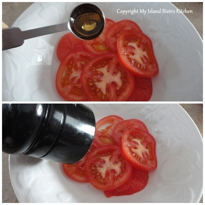 Marinating Tomatoes in Cranberry-Pear Balsamic Vinegar